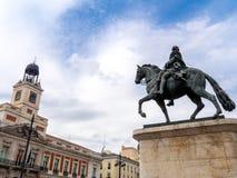 Puerta del Sol fyrkant i Madrid royaltyfri foto