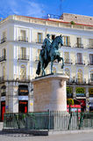 Statue of Carlos III on Puerta del Sol, Madrid Stock Photos