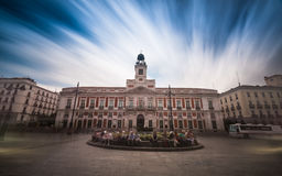 Puerta del Sol - Madrid. Long exposure of la Plaza Puerta del Sol in Madrid Royalty Free Stock Photos