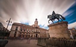 Puerta del Sol - Madrid. Long exposure of la Plaza Puerta del Sol in Madrid Stock Photos