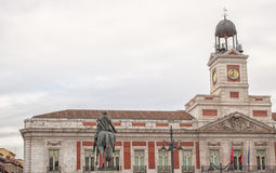 Puerta del Sol in Madrid,Spain. Clock view and the equestrian statue in the Puerta del Sol in Madrid Royalty Free Stock Images
