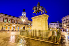 Puerta del Sol in Madrid. Madrid, Spain dawn scene at Puerta del Sol stock photography