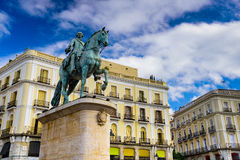 Puerta del Sol. Madrid, Spain at the King Charles III equestrian statue in Puerta del Sol royalty free stock images
