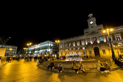 Puerta del Sol, Madrid, Spain. MADRID, SPAIN - October 2015: Night in Puerta Del Sol crowded with people Royalty Free Stock Photos