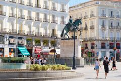Puerta del Sol, the most well known and busiest square in Madrid Stock Photo
