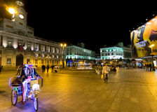 Puerta del Sol at night, Madrid, Spain Royalty Free Stock Photo