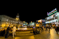 Puerta del Sol by night, Madrid, Spain. MADRID, SPAIN - October 2015: Night in Puerta Del Sol crowded with people Stock Photography