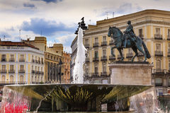 Puerta del Sol Plaza Square Fountain Madrid Spain. Puerta del Sol Gate of the Sun Most Famous Square Fountain King Carlos III Equestrian Statue in Madrid Spain Stock Photos