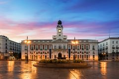 Puerta del Sol square is the main public space in Madrid. In the royalty free stock photo