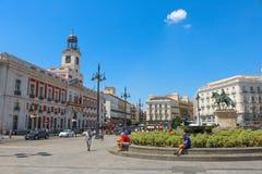 Puerta del Sol under en varm dag, sommar 2018 royaltyfri fotografi