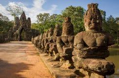 Puerta del sur de Angkor Thom Foto de archivo libre de regalías
