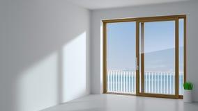 Puerta deslizante de madera en el cuarto foto de archivo libre de regalías