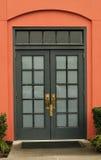 puerta doble Vidrio-artesonada Imágenes de archivo libres de regalías