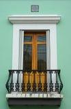 Puerta embellecida del balcón en San Juan viejo Imagen de archivo