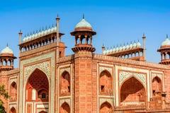 Puerta en el Taj Mahal, la India fotos de archivo