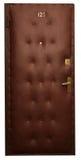 Puerta en piel artificial marrón imagen de archivo