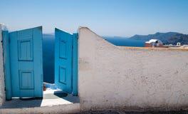 Puerta en Santorini Fotografia Stock