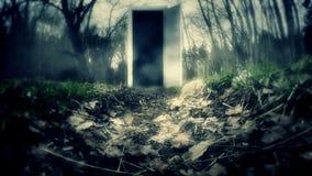 Puerta en un bosque oscuro con el portal almacen de metraje de vídeo