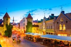 Puerta famosa de Viru - capital estonio de la vieja arquitectura de la ciudad de la parte, Fotografía de archivo