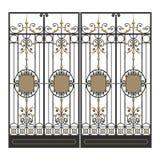 Puerta forjada con las hojas ilustración del vector