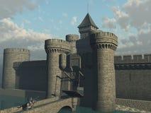 Puerta inminente del castillo del caballero Foto de archivo