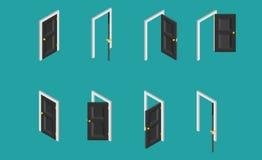 Puerta isométrica negra Sistema de las puertas abiertas y cerradas Ilustración del vector Imagen de archivo libre de regalías