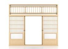 Puerta japonesa de madera del Shoji aislada en el fondo blanco