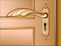 Puerta marrón del vector con la maneta stock de ilustración