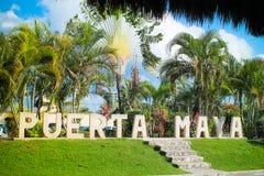 Puerta Maya Cozumel Mexico Signage fotos de stock