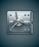 Puerta metálica de la caja fuerte del banco para el dinero stock de ilustración