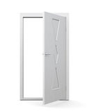 Puerta moderna en un fondo blanco 3d rinden los cilindros de image Imagenes de archivo