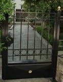 Puerta negra del metal Imagenes de archivo
