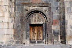 Puerta ornamental del monasterio antiguo de Geghard, Armenia, la UNESCO Imagen de archivo libre de regalías