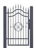 Puerta peatonal decorativa forjada, enrejado gris oscuro detallado grande vertical aislado de la flor de lis del hierro labrado d fotografía de archivo