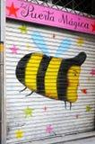 Puerta pintada de la seguridad, Barcelona Imagenes de archivo