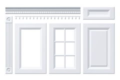 Puerta principal, cajón, columna, cornisa para el armario de cocina en blanco Foto de archivo libre de regalías