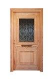Puerta principal de madera con el satinado Fotografía de archivo