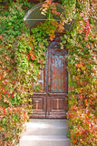 Puerta principal en la casa vieja Imágenes de archivo libres de regalías