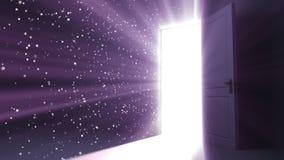 Puerta que se abre en una luz del cielo El volar de las llamaradas HD 1080 stock de ilustración
