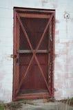 Puerta roja barrada Imagen de archivo
