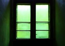 Puerta verde de la ventana. Fotos de archivo libres de regalías