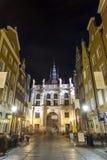 Puerta verde en Gdansk, Polonia Foto de archivo libre de regalías