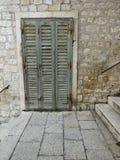 Puerta verde vieja del obturador Imagen de archivo