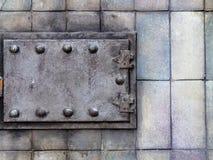 Puerta vieja del horno de la calefacción Fotografía de archivo
