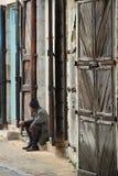 Puerta vieja en un pueblo libanés Imagenes de archivo