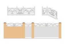 Puerta, wicket, escalera y cerca stock de ilustración
