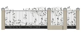 Puerta, wicket y cerca forjados ilustración del vector