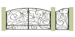 Puerta, wicket y cerca forjados stock de ilustración