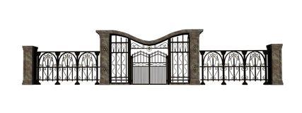 Puerta y cerca del hierro libre illustration