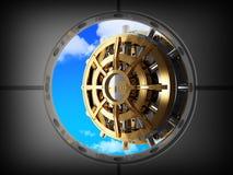 Puerta y cielo de la batería de la cámara acorazada Fotos de archivo libres de regalías